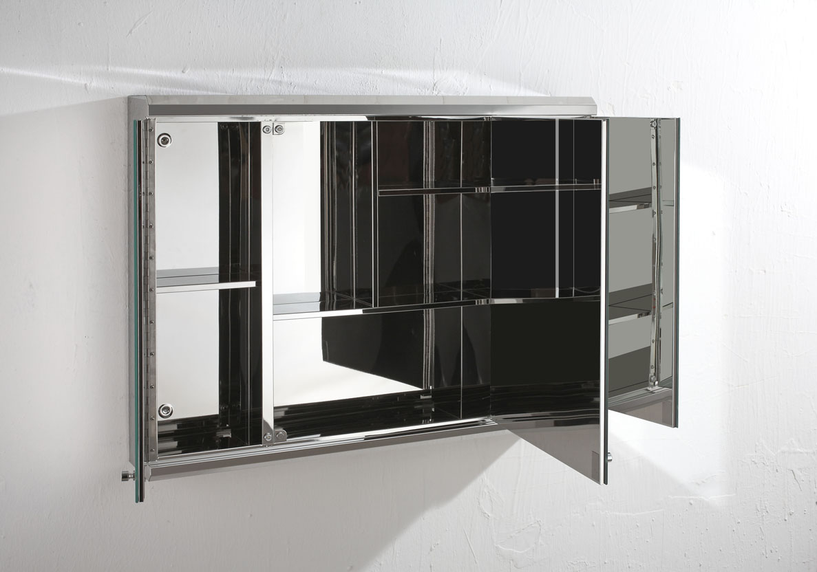 Biscay 80cm X 55cm Triple Door Three Door Mirror Bathroom Wall Cabinet Storage Ebay