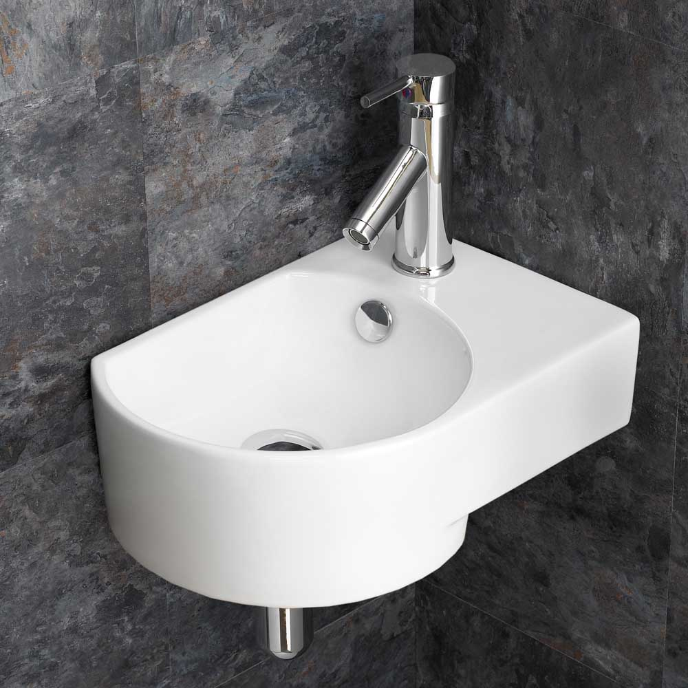 ... Wall Mounted Right Corner White Space Saving Wash Basin Sink eBay