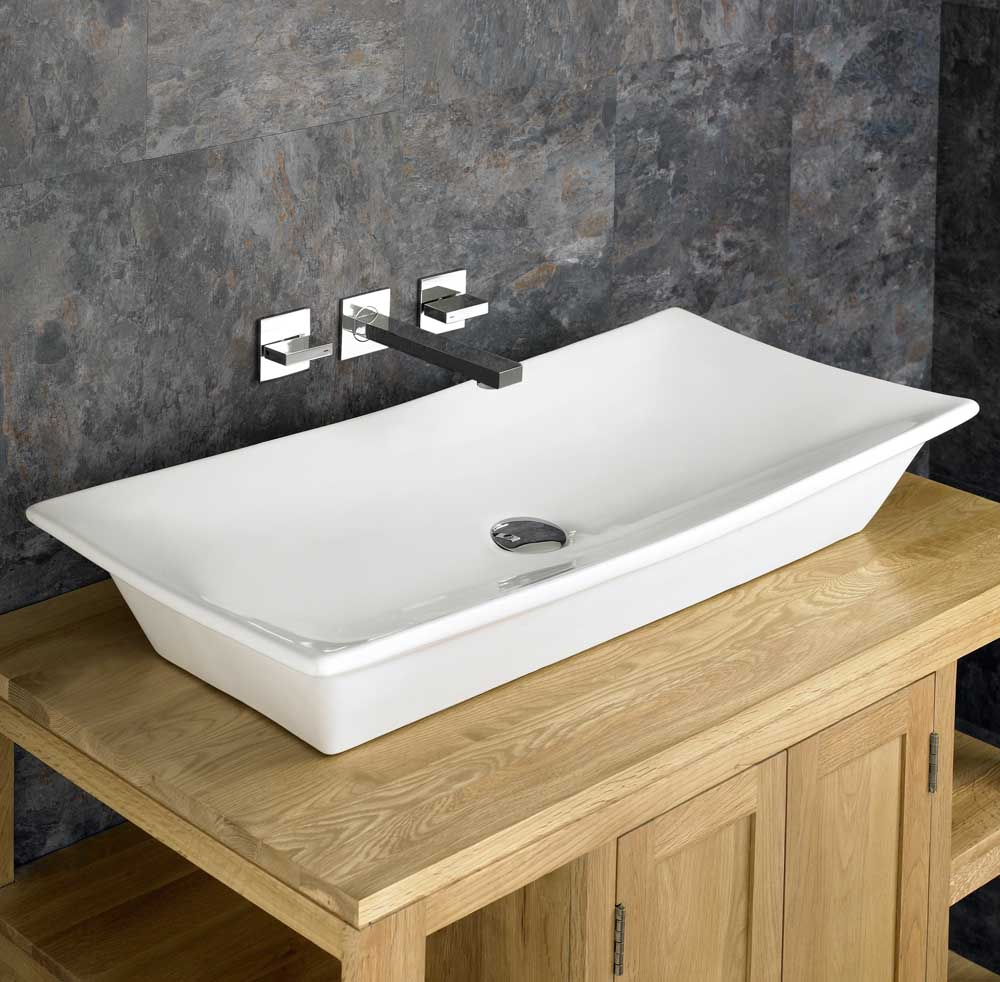 80cm x 40cm Countertop Contemporary Ceramic Rectangular ...
