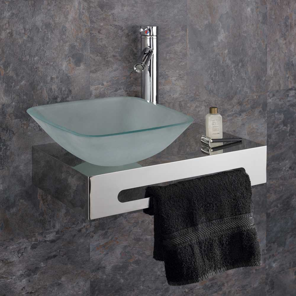 Wall mounted 50cm stainless steel shelf with glass basin