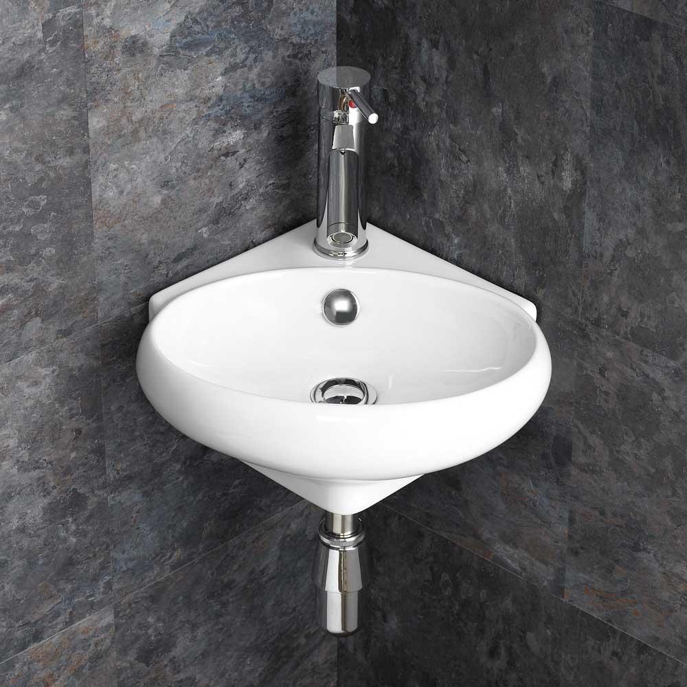 Wall Hung Bathroom Basins : Wall Mounted Wall Hung Bathroom Ceramic Corner Sink Hand Basin Sink ...