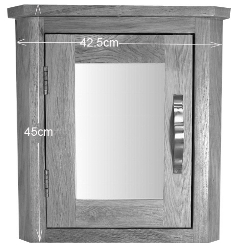 Solid Oak Wall Mounted Corner Bathroom Mirror Cabinet 45cm Tall Dining Room