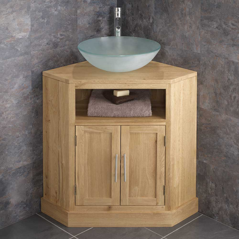 Solid Oak Double Door Freestanding Corner Bathroom Cabinet