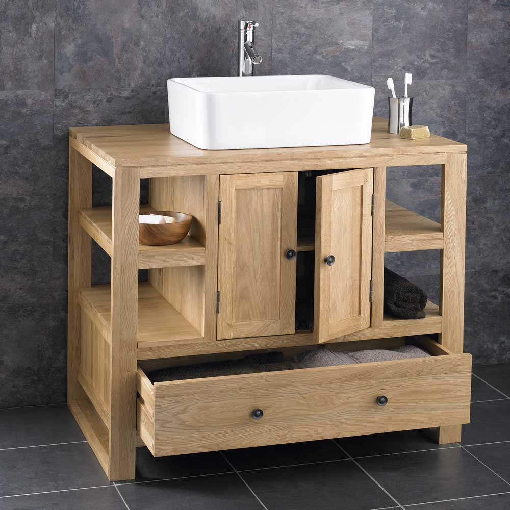 90cm X 55cm Solid Oak Two Door Bathroom Basin Cabinet Vanity Sink Basin Unit Ebay