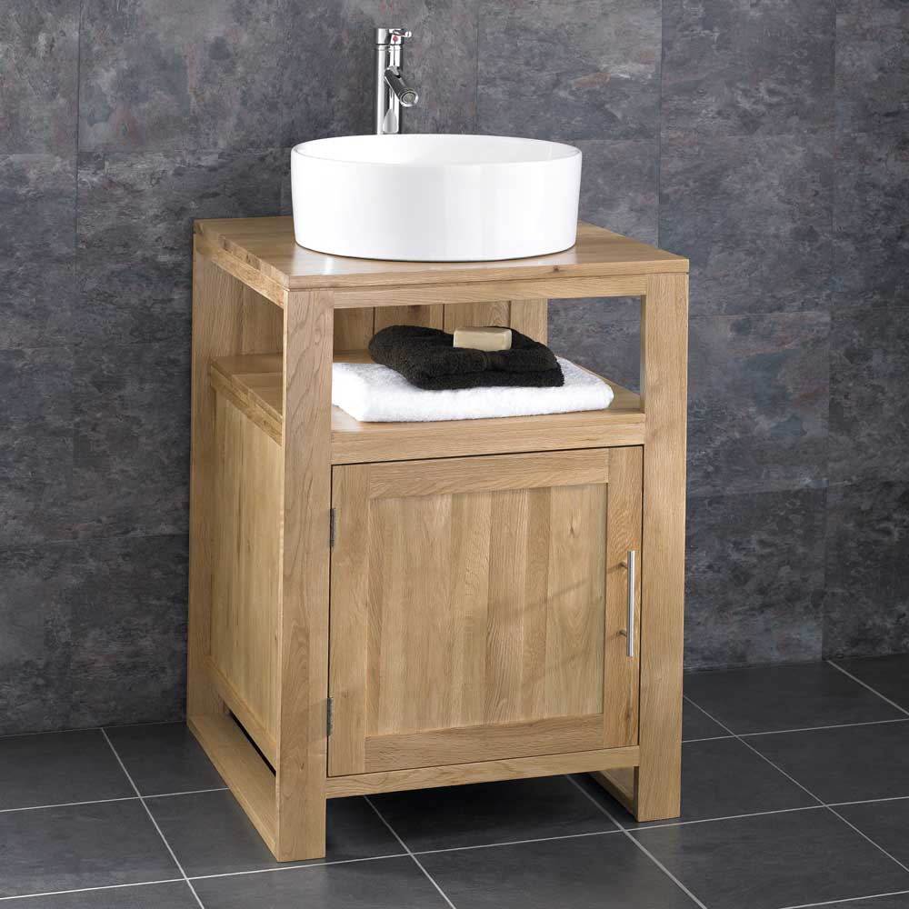 Cube solid oak freestanding 55cm washstand sink washbasin for Bathroom wash basin with cabinet