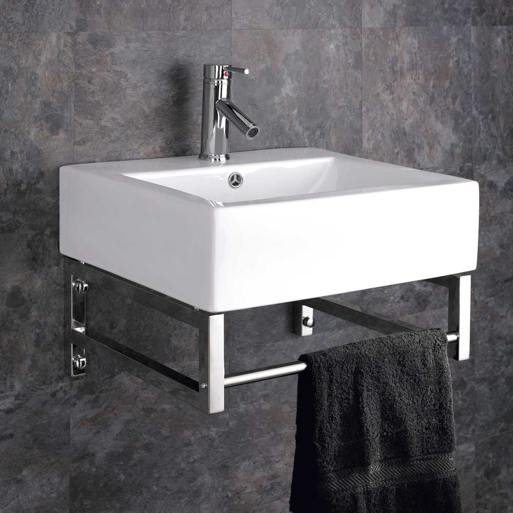 Wall Mounted Washbasin : Details about Wall Mounted Belfast Sink With Towel Rail Basin Sink ...