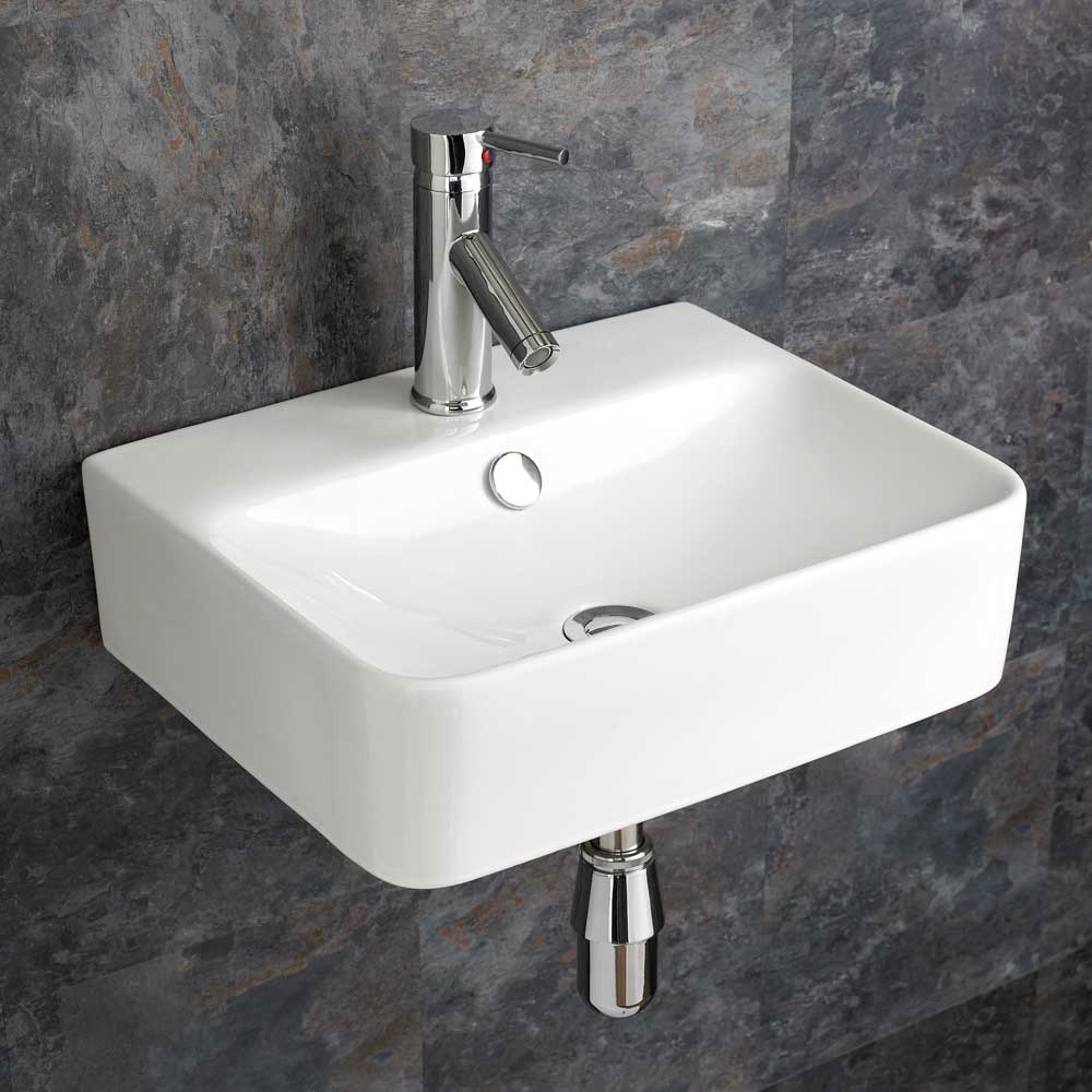 ... about 44cm x 36cm Wall Mounted Rectangular Bathroom Sink Basin Bowl