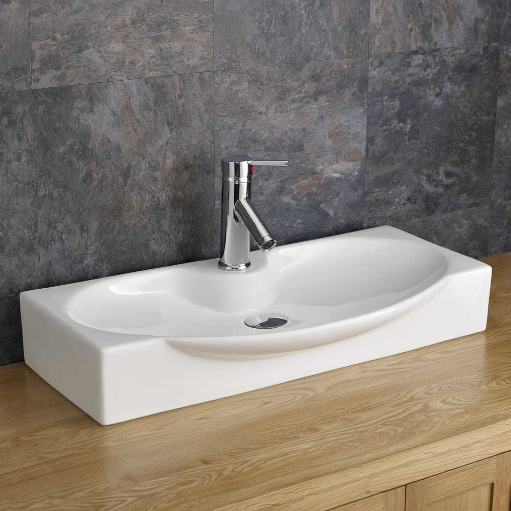 Countertop 69cm x 34cm Shallow Bathroom Sink White Ceramic Moda Basin ...
