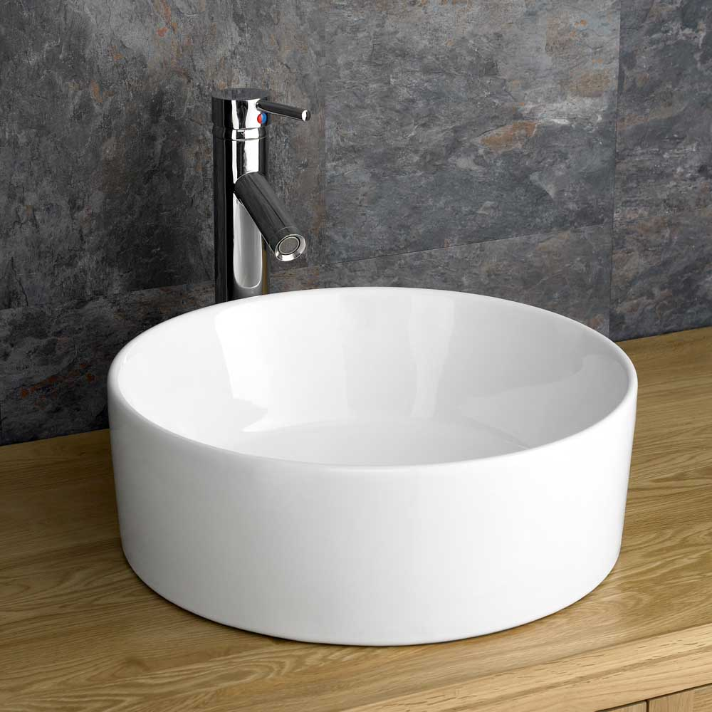 Round Bathroom Basin : ... 50cm Glass Bathroom Shelf + Round White Ceramic Basin Sink eBay