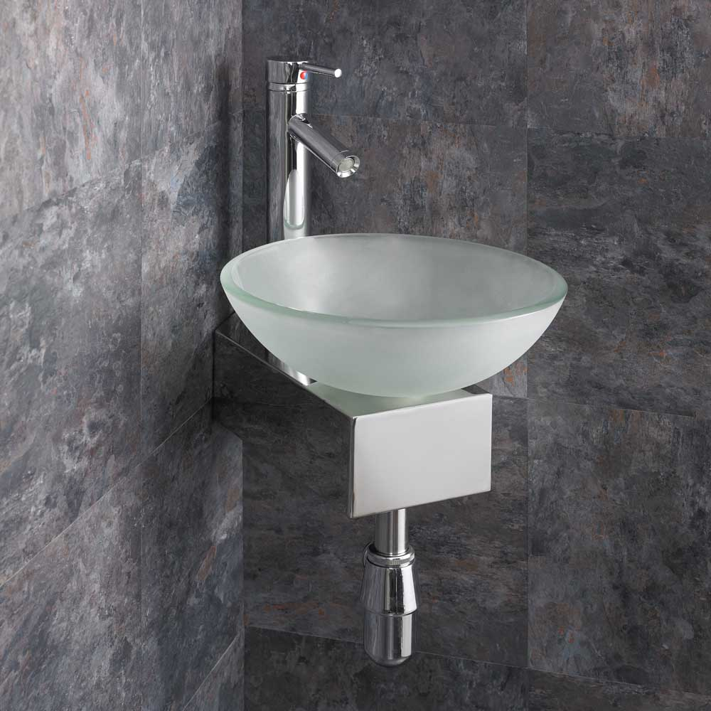 Corner Sink Cloakroom : Details about Cloakroom Wall Mounted Basin Glass Corner Sink Compact ...