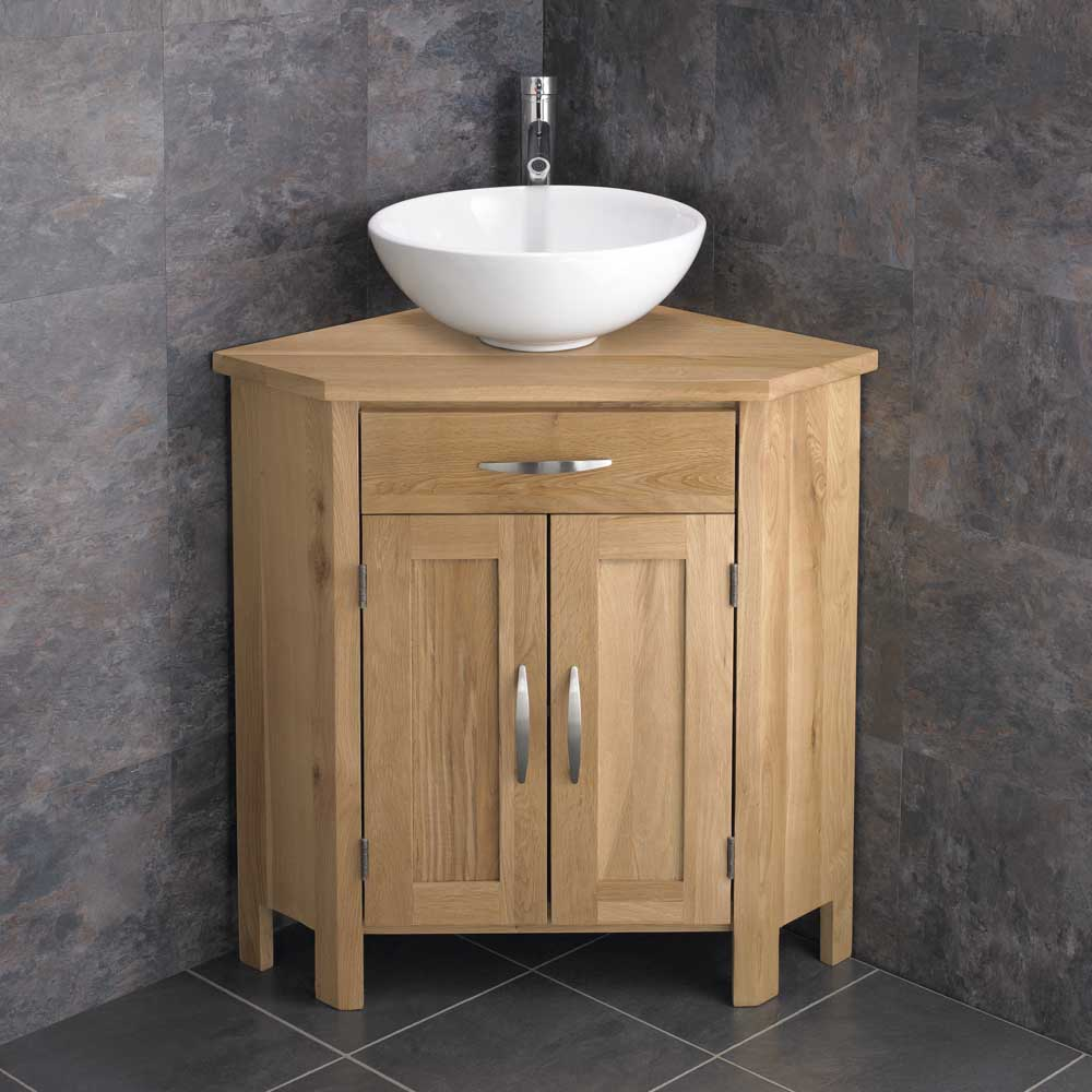 78cm Freestanding Wide Corner Bathroom Two Door Cabinet Solid Oak Vanity Si