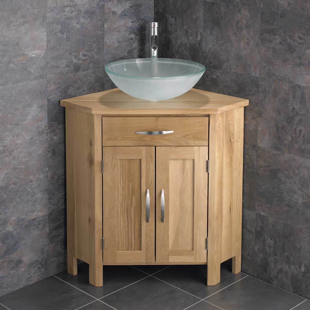 freestanding bathroom cabinet solid oak cupboard round glass basin