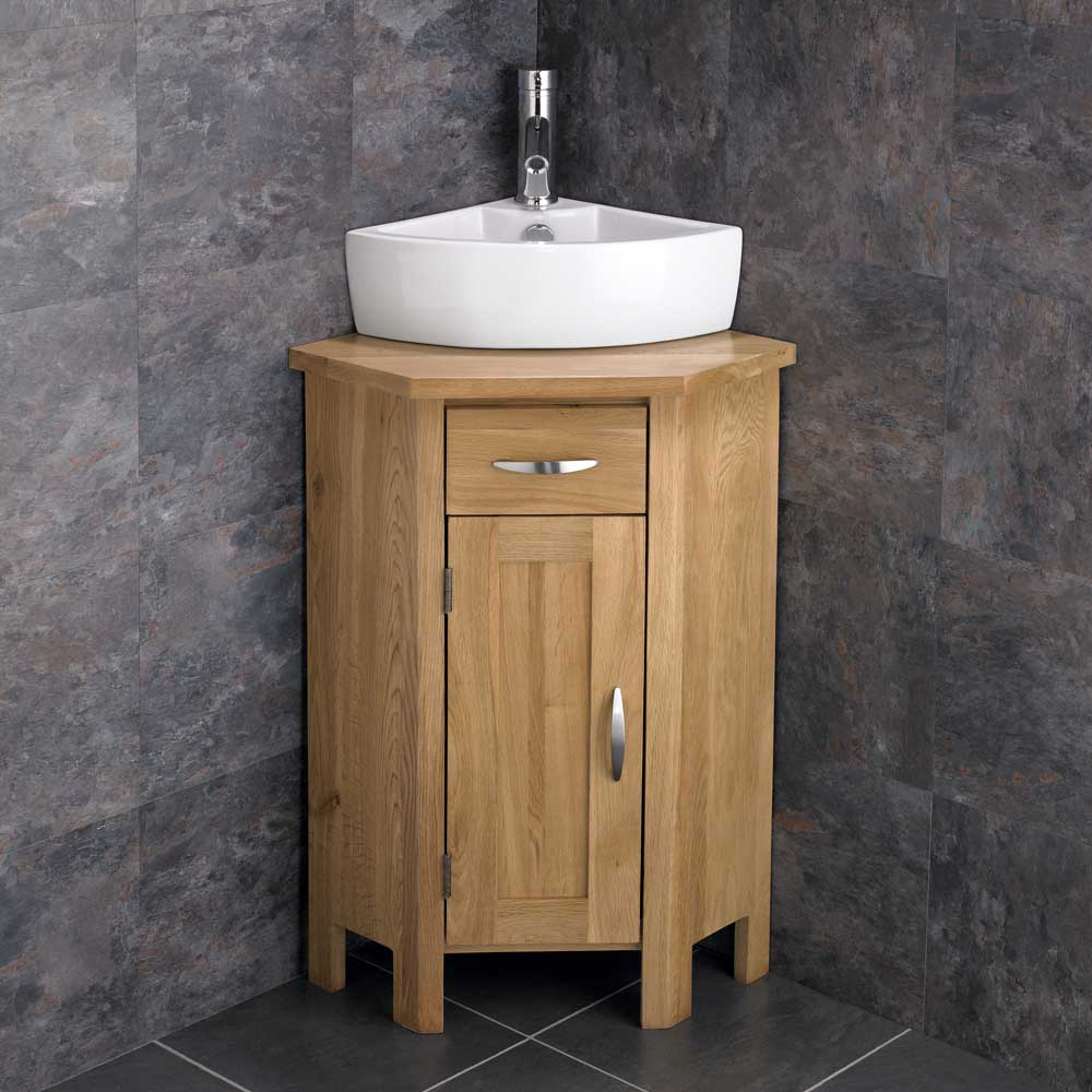 Ohio en suite corner bathroom cabinet oak vanity unit for Bathroom washbasin cabinet