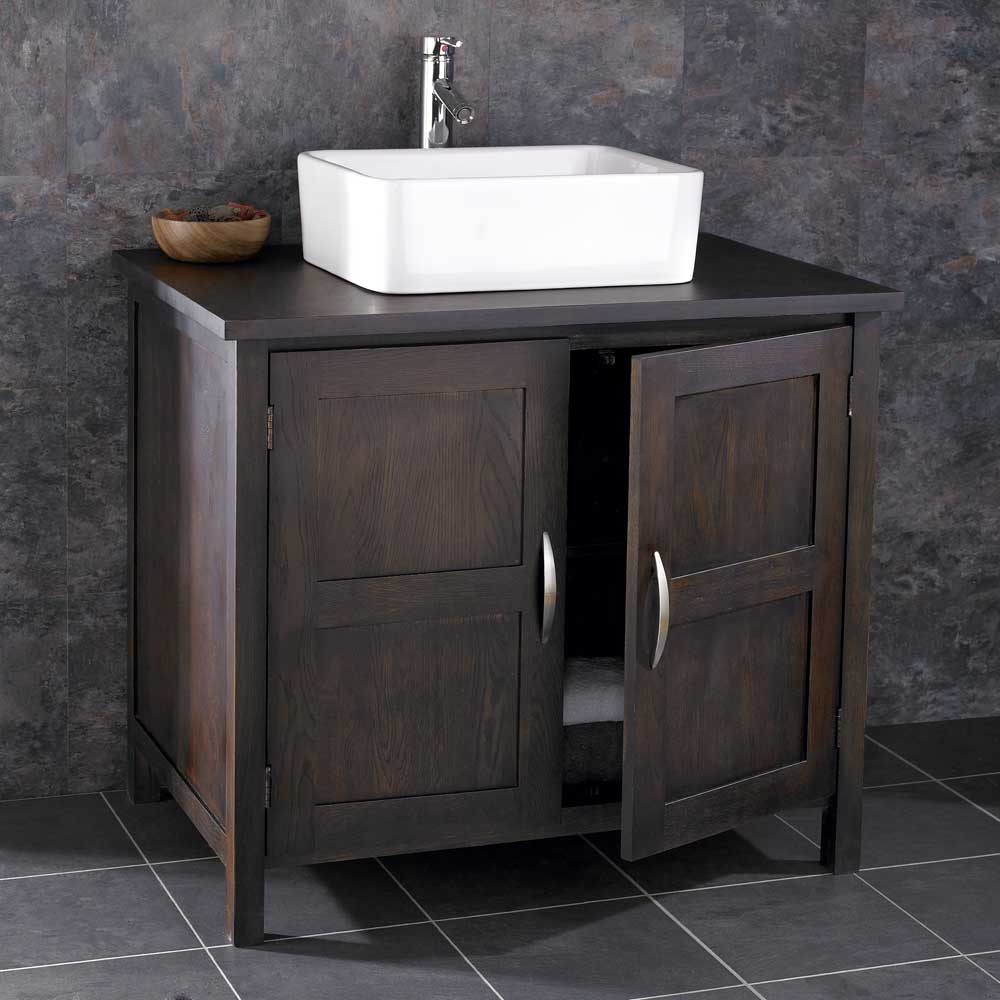 90cm Wide Freestanding Solid Oak Dark Wenge Bathroom Cabinet Sink Ceramic Basin