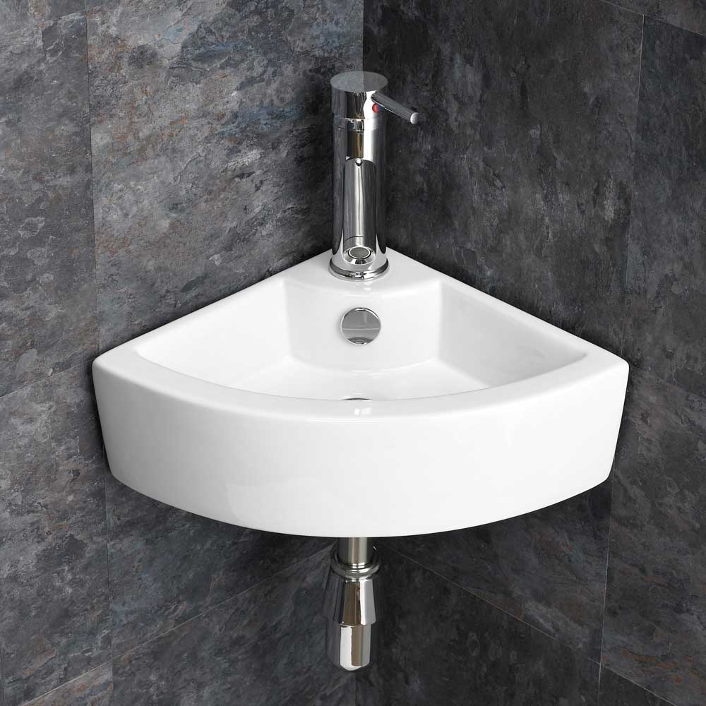 Wall Mounted Small Cloakroom Corner Basin Sink Bathroom