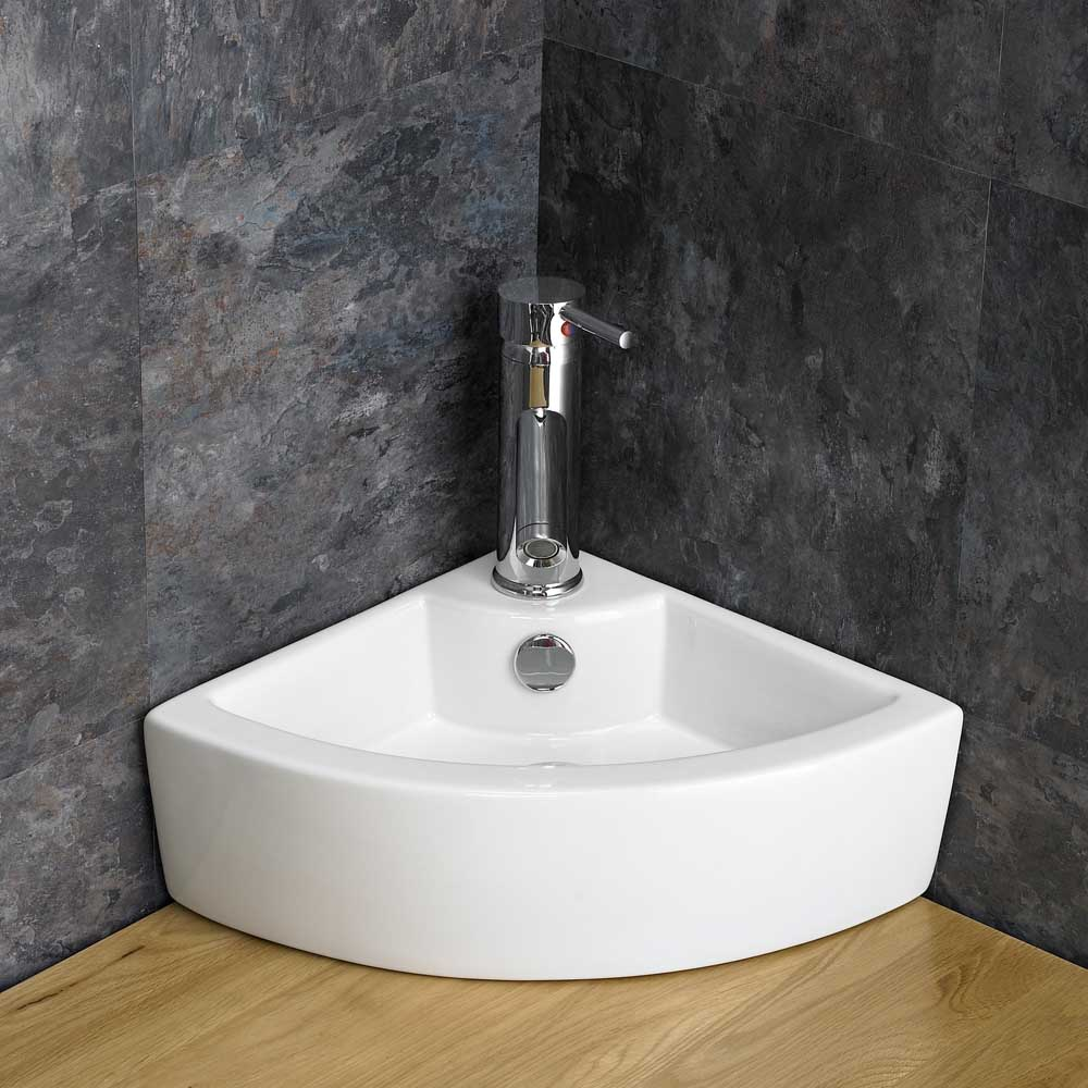 Corner Sink Toilet : ... Suite Corner Bathroom Cabinet Oak Vanity Unit Corner Sink Space Saving