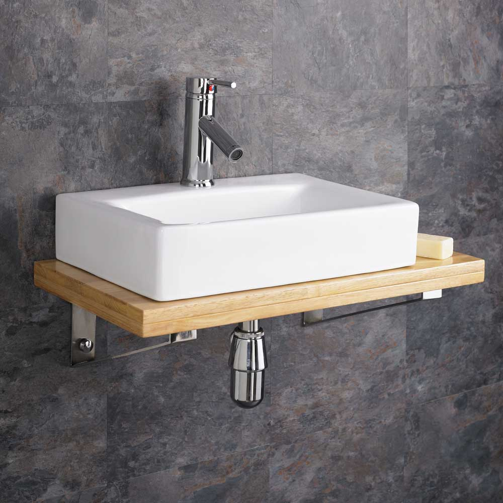 Wall Mounted Wooden Shelf White Ceramic Rectangular Sink Bathroom Storage Bas