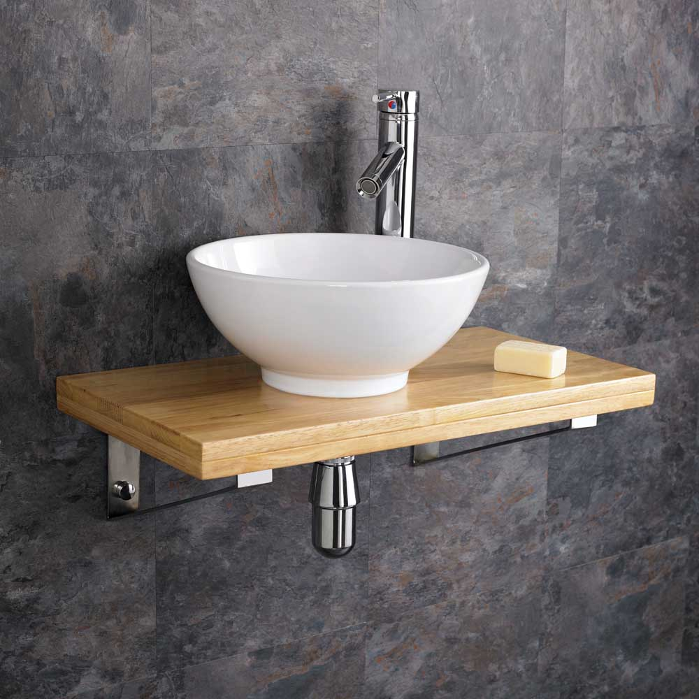 32cm Ceramic Round Bathroom Sink 60cm Wood Shelf Wall Hung Cloakroom ...