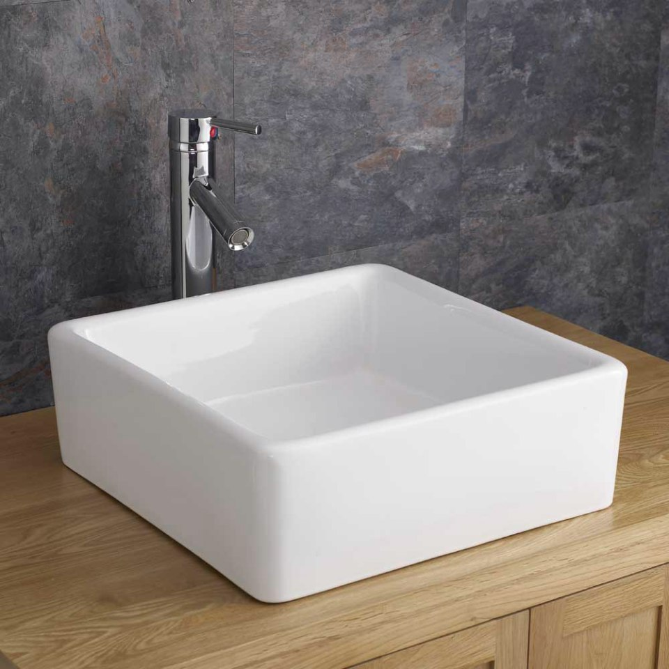 ... Counter Mounted 38cm x 38cm Square Wash Basin Sink Handbasin