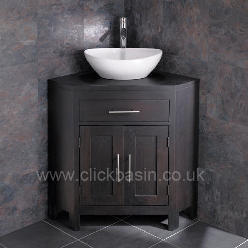 Solid WENGE Oak Large Corner Bathroom Cabinet Vanity Unit Bowl Basin Various