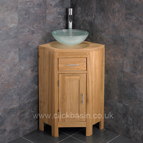 solid oak corner bathroom cabinet with choice of basins tap waste
