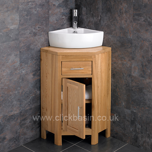 Solid Oak Corner Bathroom Cabinet with Choice of Basins   Tap   WasteSolid Oak Corner Bathroom Vanity Unit Cabinet Ceramic Bowl Basin  . Round Bathroom Cabinet Uk. Home Design Ideas