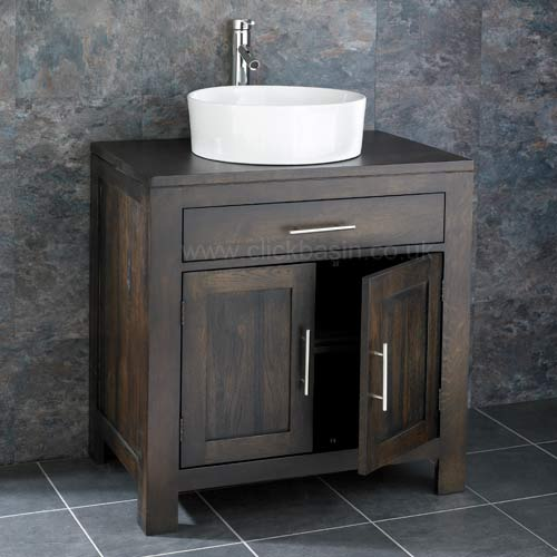freestanding 75cm two door wenge oak vanity cabinet unit basin tap set