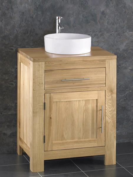 oak bathroom 60cm wide vanity furniture unit sink cabinet ceramic bowl