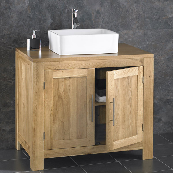 Alta 90cm freestanding solid oak double door cabinet sink for Small bathroom basin cabinets