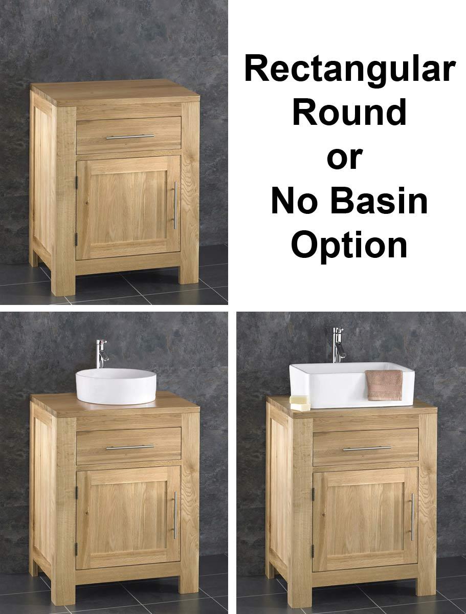 Solid Oak Bathroom 60cm Wide Vanity Furniture Unit Sink Cabinet Ceramic Bowl Ebay