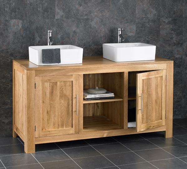 130cm wide solid oak freestanding double basin vanity bathroom cabinet