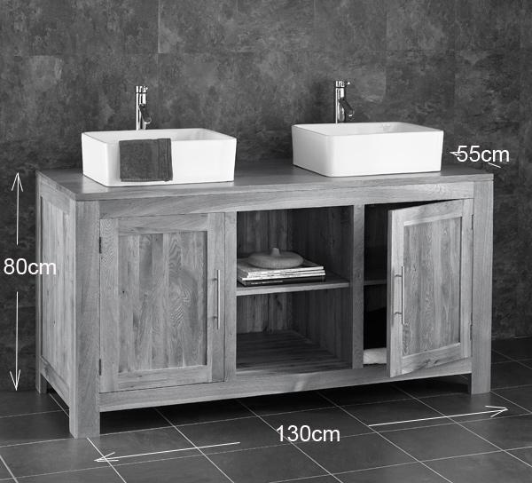130cm wide solid oak freestanding double basin vanity for Bathroom cabinets 55cm wide