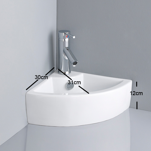 Corner Basin : Details about VALUE Ceramic Modern CORNER Basin Sink + Tap + Waste ...