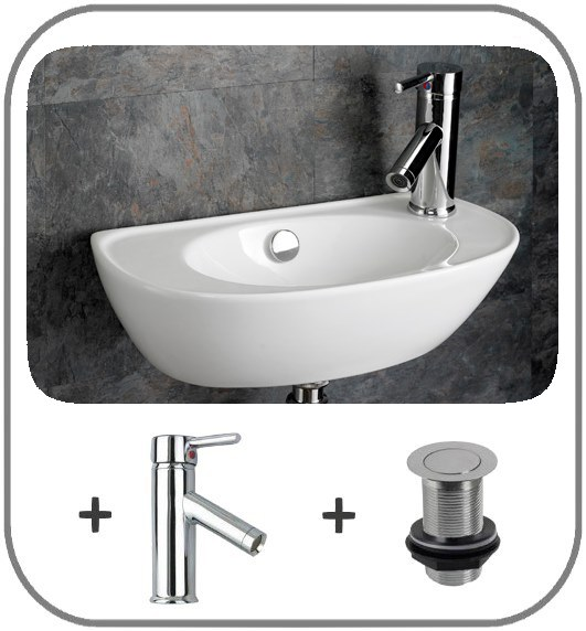 Space saving sink wall mounted basin cloakroom 44cm x 23cm narrow basin ebay - Narrow cloakroom basin ...