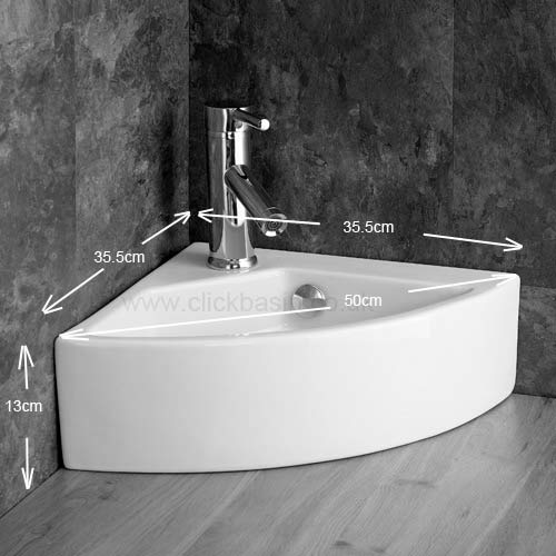 Countertop Top Mounted Corner Sink Bathroom Sink with Chrome Mixer Tap ...