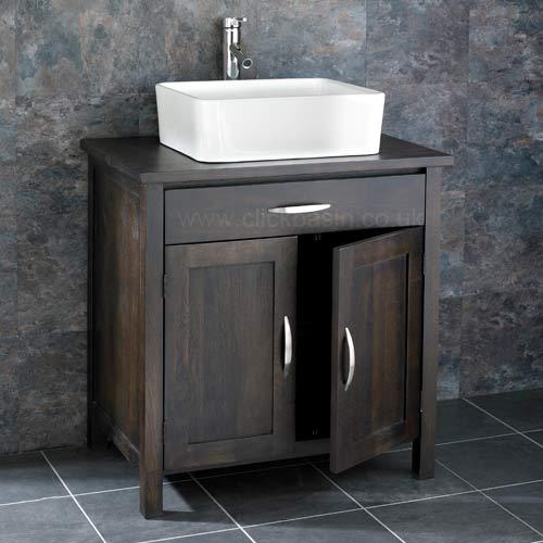 75cm x 50cm solid wenge oak two door bathroom basin