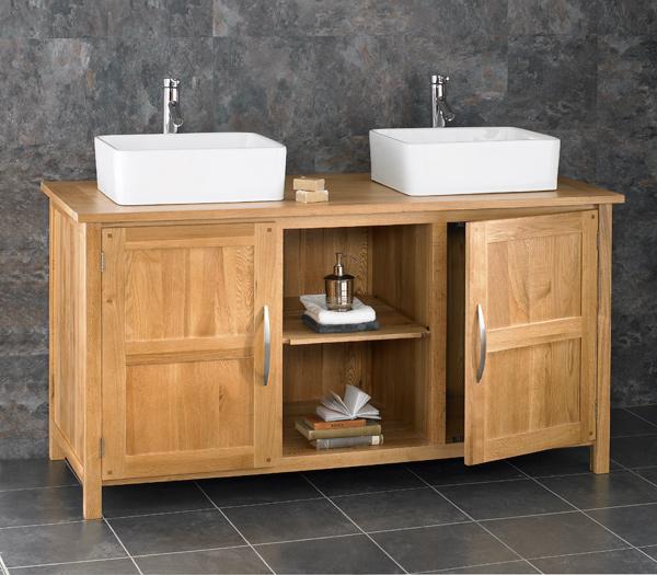 130cm oak bathroom cabinet freestanding basin double sink - Freestanding double bathroom vanity ...