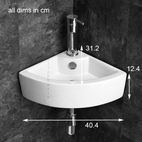 ... Small Cloakroom Corner Basin Sink Bathroom 40cm Space Saving Sink