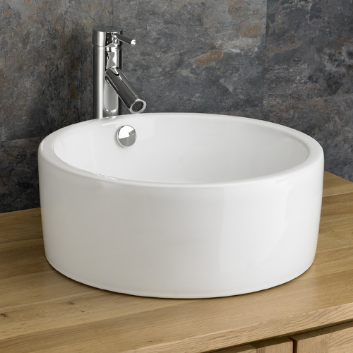 Details about Ceramic 41.5cm Round Sink Bathroom Basin Overflow White ...